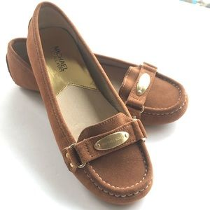 Brown suede moccasin flats by Michael Kores, 8.5